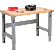 "48""W X 30""D Maple Butcher Block Square Edge Work Bench - Adjustable Height - 1 3/4"" Top - Gray"