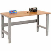 """72""""W X 30""""D Shop Top Square Edge Work Bench - Adjustable Height - 1-1/2"""" Top - Gray"""