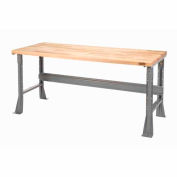 "48""W X 30""D X 34""H Maple Butcher Block Square Edge Workbench - Gray"