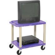 Plastic Utility Cart 2 Shelves Purple