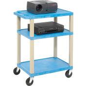 Plastic Utility Cart 3 Shelves Blue