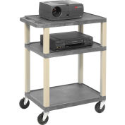 Plastic Utility Cart 3 Shelves Gray