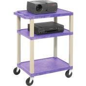 Plastic Utility Cart 3 Shelves Purple