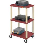 Plastic Utility Cart 3 Shelves Burgundy