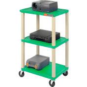 Plastic Utility Cart 3 Shelves Green