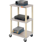 Plastic Utility Cart 3 Shelves Putty