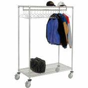 Garment Floor Rack With 18 Hangers, 2-Shelf