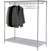 Garment Floor Rack With 24 Hangers, 2-Shelf