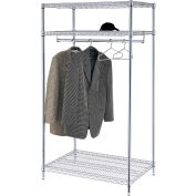 "Free Standing Clothes Rack - 3-Shelf - 36""W x 24""D x 74""H - Chrome"