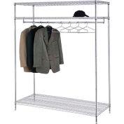 Garment Floor Rack With 24 Hangers, 3-Shelf