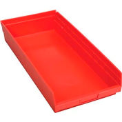 "Plastic Shelf Storage Bin - Nestable 11-1/8""W x 23-5/8"" D x 4""H Red - Pkg Qty 6"