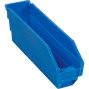 "Plastic Shelf Storage Bin - Nestable 2-3/4""W x 11-5/8""D x 4""H Blue - Pkg Qty 24"