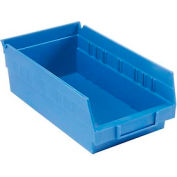 "Plastic Shelf Storage Bin - Nestable 6-5/8""W x 11-5/8"" D x 4""H Blue - Pkg Qty 12"