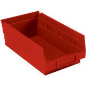 "Plastic Shelf Storage Bin - Nestable 6-5/8""W x 11-5/8"" D x 4""H Red - Pkg Qty 12"