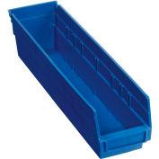 "Plastic Shelf Storage Bin - Nestable 4-1/8""Wx 17-7/8""D x 4""H Blue - Pkg Qty 12"