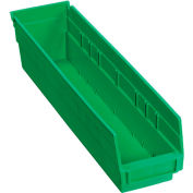 "Plastic Shelf Bin -  4-1/8""W x 17-7/8""D x 4""H Green - Pkg Qty 12"