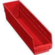 "Plastic Shelf Storage Bin - Nestable 4-1/8""W x 17-7/8""D x 4""H Red - Pkg Qty 12"
