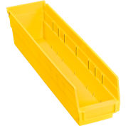 "Plastic Shelf Bin - 4-1/8""W x 17-7/8""D x 4""H Yellow - Pkg Qty 12"
