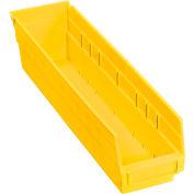 """Plastic Shelf Bin - 4-1/8""""W x 17-7/8""""D x 4""""H Yellow - Pkg Qty 12"""