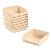 """Nesting Storage Bin - Plastic 11-1/8""""W x 11-5/8"""" D x 4""""H Beige - Pkg Qty 12"""