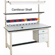 "72""L X 12""D PLastic Laminate Cantilever Shelf- Beige"