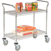 Nexel® Wire Utility Cart 36 x 18 2 Shelves 800 Lb. Capacity