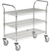 Nexel® Wire Utility Cart 36x18 3 Shelves 800 Lb. Capacity