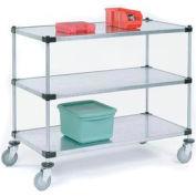 Nexel® Adjustable Solid Galvanized Shelf Cart 72x18 3 Shelves 800 Lb. Cap