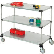 Nexel® Adjustable Solid Galvanized Shelf Cart 48x24 3 Shelves 800 Lb. Cap