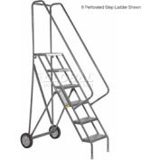 10 Step Steel Roll and Fold Rolling Ladder - Perforated Tread