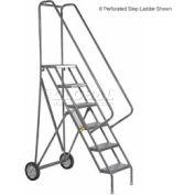 5 Step Steel Roll and Fold Rolling Ladder - Grip Strut Tread