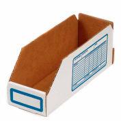 """Foldable Corrugated Shelf Bin 2""""W x 12""""D x 4-1/2""""H, White - Pkg Qty 100"""