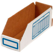 "Foldable Corrugated Shelf Bin 8""W x 12""D x 4-1/2""H, White - Pkg Qty 100"