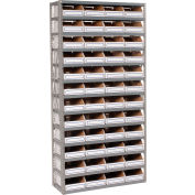 Steel Open Shelving with 48 Corrugated Shelf Bins 13 Shelves  - 36x18x73