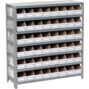 Steel Open Shelving with 48 Corrugated Shelf Bins 7 Shelves - 36x12x39