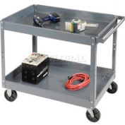 Edsal SC2024 2 Shelf Deep Tray Steel Stock Cart 36x24 500 Lb. Capacity