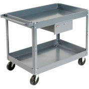 Edsal SC2116 2 Shelf Deep Tray Steel Stock Cart 30x16 500 Lb. Cap. with 1 Drawer