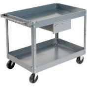 Edsal SC2116 2 Shelf Deep Tray Steel Stock Cart 30x16 500 Lb. Cap. with 1 Drawer