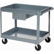 Edsal 2 Shelf Deep Tray Steel Stock Cart 30x16 800 Lb. Capacity with 1 Drawer