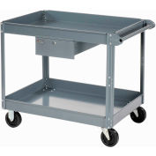 Edsal 2 Shelf Deep Tray Steel Stock Cart 36x24 800 Lb. Capacity with 1 Drawer