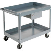 Edsal SC2124 2 Shelf Deep Tray Steel Stock Cart 36x24 500 Lb. Cap. with 1 Drawer