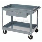 Edsal 2 Shelf Deep Tray Steel Stock Cart 36x24 800 Lb. Capacity with 2 Drawers