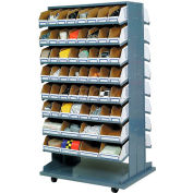 Mobile Double Sided Bin Rack with 112 Corrugated Bins