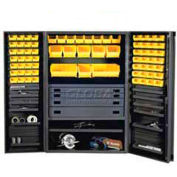 Durham Security Work Center & Storage Cabinet JCBDLP694RDR-95 - Flush Doors, With 69 Bins