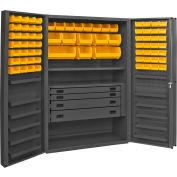 Durham Security Work Center & Storage Cabinet DCBDLP724RDR-95 - Deep Pocket Doors, With 72 Bins