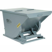 Wright 7599 3/4 Cu Yd Gray HD Self Dumping Forklift Hopper with Heavy Gauge Base