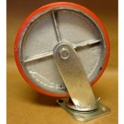 "Polyurethane Casters 8"" x 2"" (2 Swivel, 2 Rigid) for Wright Self-Dumping & Low Profile Hoppers"