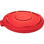 Rubbermaid® Brute Flat Lid For 32 Gallon Round Trash Container, Red - RCP2631RED