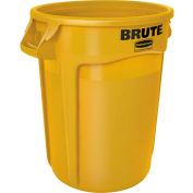 Rubbermaid Brute® FG264360YEL Trash Container w/Venting Channels, 44 Gallon - Yellow