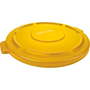 Brute® Flat Lid For 44 Gallon Round Trash Container, Yellow - RCP264560YEL